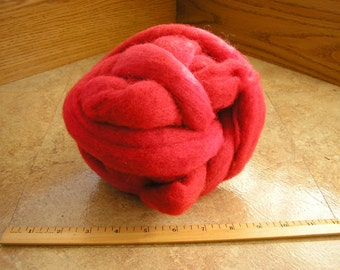 Cherry Red Corriedale New Zealand Wool Roving for felting and spinning, 3.5 ounces