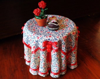 1/12 Scale (Dollhouse) Valentine Double Cloth Covered Table with Tiny Red Glass Hearts - Indoor Fairy Garden
