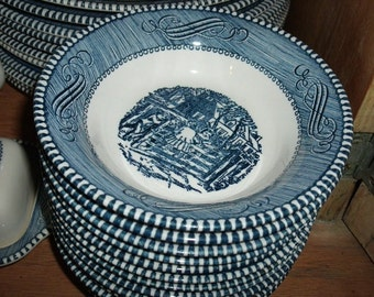 1960s Blue and White Currier & Ives- Dessert Dish, 5 1/2 in