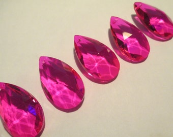 5 Hot Pink Fuchsia 38mm Chandelier Crystals Prisms - Hot Pink Glass Crystals(S-21)