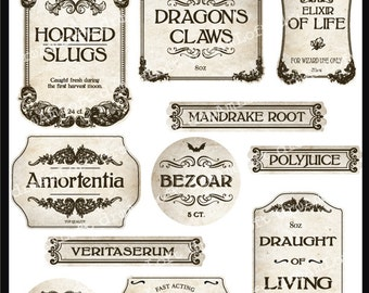 Wizard Potion and Halloween Apothecary Printable Frames and Labels for Personal and Commercial Use