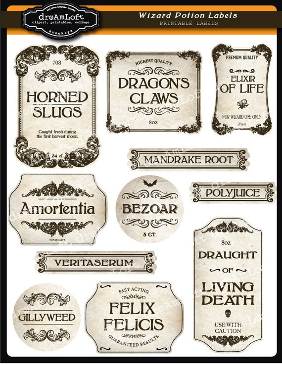 This is an image of Juicy Harry Potter Potion Labels Printable