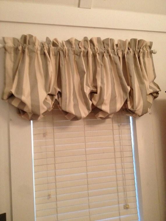 Gray And Cream Stripe Balloon Curtain With No Ruffle