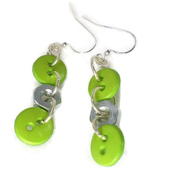 Green Buttons earrings, button earrings, hardware earrings, industrial ...