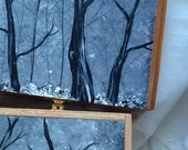 Jewelry Box, Keepsake Wood Cigar Boxes, Hand Painted, Black White Tree Forest