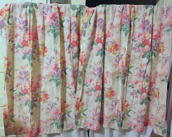 1930s French Vintage Woven Floral Ikat Curtains Great Colors Excellent Condition Two Panels 27Wx47L