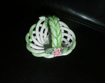 Basket- White Weave Ceramic Basket ~ Made in Spain~  Open Weave with  Pink Flowers