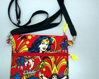 Wonder Woman purse, messenger bag, handmade in USA