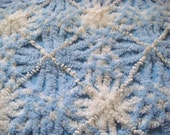 Cabin Crafts Baby Blue Vintage Chenille Bedspread Fabric 12 x 24 Inches