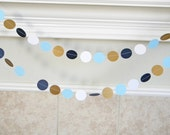 Paper Circle Garland, Navy Blue, White, Light Blue and Metallic Antique Gold. Open House Decor Garland, Housewarming Party, Little Man Party