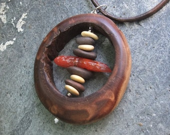 Wood stone statement jewelry - pebbles, natural Carnelian in eucalyptus wood circle -  unique Australian jewelry