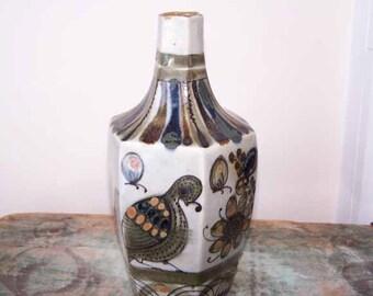 Tonala Vase, Ken Edwards, Folk Art, Bird Quail Motif, Pottery Vase, Mexican Pottery, Stoneware Vase, Mid Century Modern, Vintage, Mexican