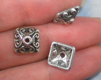 12 End Bead Caps Celtic Scroll Square Pyramid Antique Tibetan Silver Tone (P159)