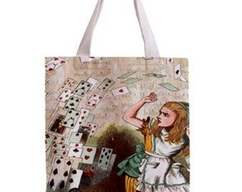 Alice in Wonderland and Flying Cards Tote Bag