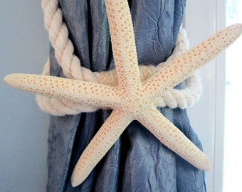 Beach Decor Starfish Tie Back, Curtain Tie Back, Nautical Decor Starfish Curtain Tieback, Beach House Decor - White Finger or Brown Sugar