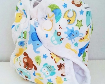 Baby Animals Newborn Cloth Diaper or Cloth Diaper Cover for Baby, AI2 style with or without absorbent liner