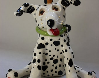 Dewey the Ceramic Dalmatian Dog Sculpture- Custom Pieces Available Upon Request