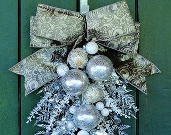 Elegant Christmas  - Stunning Ornament and Crystal Christmas Swag, Holiday Swag, Winter Swag, Winter Wreath, Christmas Wreath, Silver Wreath