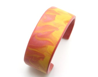 Polymer Clay cuff bracelet, handmade, terracotta, yellow and orange, mica shift abstract