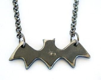 Halloween Bat Necklace by WATTO Distinctive Metal Wear/  Bat Necklace/Metal Bat/ Mens Pendant/ Mens Necklace / Bat Lover/ Halloween Necklace
