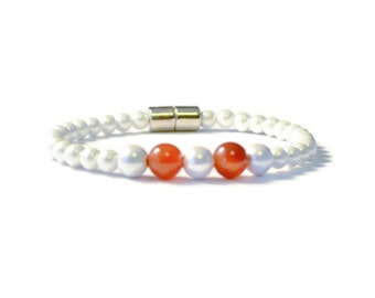 Carnelian and White Pearl Magnetic Hematite Therapy Bracelet, Arthritis Pain Relief Jewelry