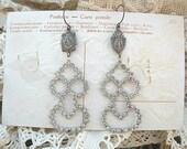 catholic medal assemblage rhinestone earrings mismatch recycle