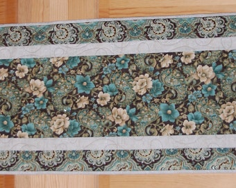 Aqua and Brown Floral Paisley Table Runner