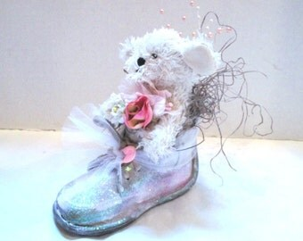 Handmade Embellished Vintage Baby Shoe, Puppy Dog, Pink Floral Nursery Decor Package Decoration Baby Shower, Upcycle Assemblage, It's a Girl