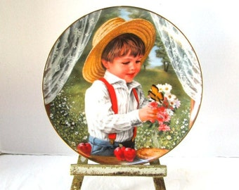 Vintage Childhood Almanac Collector Plate For Mom Boy w/ Flowers Butterfly Straw Hat Hamilton Collection Sweet Gender Reveal Party Keepsake