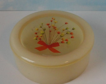 1974  Resin Lidded Powder Box. Trinket Box with  Flowers. Made in USA