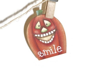 Hand Painted Pumpkin Pin | Jack-O-Lantern Smile Lapel Pin
