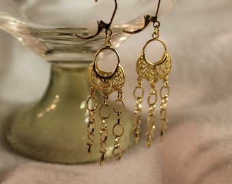 Gold Dangle Earrings with Chains