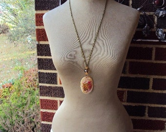 Shabby Chic Flower Long Necklace Mother of Pearl Shell Aurora Borealis Beads Amber Beads Antique Brass
