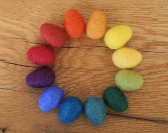 Rainbow Felted Eggs,  Set of 12 Small Wool Easter Eggs with optional Nest