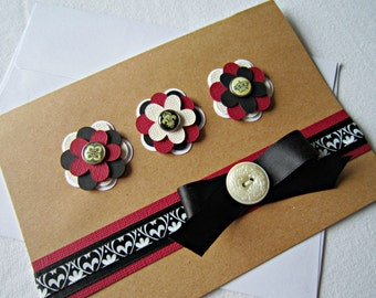 Flower Card in Red, Cream and Black