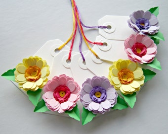 Set of Six Gift Tags with Quilled Flowers