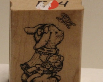Girl Bunny with Butterfly and Easter Basket Rubber Stamp