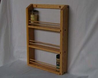 Oak Wooden Triple Shelf Classic Spice Rack