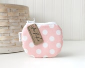 Pink Change Purse Pink and White Polka Dot Coin Purse Small Pink Zipper Pouch
