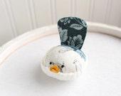 Floral Bird Pincushion Navy Blue Floral Pin Keep Small Bird Pin Cushion Handmade Pincushion