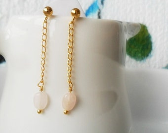 Dainty Rose Quartz Gold Earrings / Long Chain Dangle Earrings Minimalist / Delicate Gemstone Everyday Earrings / Bridesmaid gift / For Her