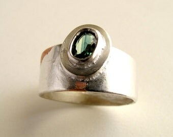 Green Sapphire Ring Sterling Silver Textured Ring With Natural Green Faceted Sapphire For Men