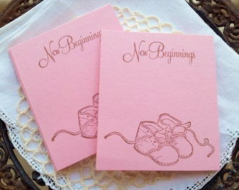 Baby Shower Wish Cards Food Buffet Label Tags Baby Booties Pink Its a Girl Set of 25
