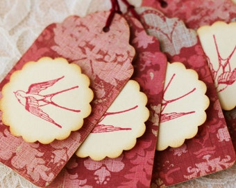 Vintage Inspired Bird Gift Tags Red Shabby Cottage Set of 6