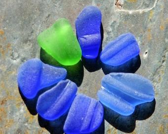 Seaglass Bottle Lips. 7 Pieces. Undrilled. Cobalt Blue, Cornflower Blue & Lime Green. Lot C1
