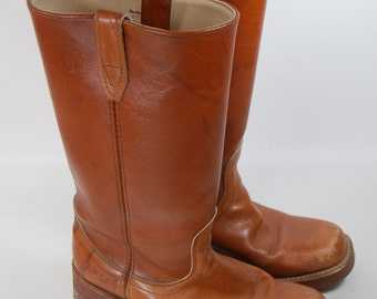 70s Brown Dingo Vintage Women's Cowboy Boots 7 1/2D