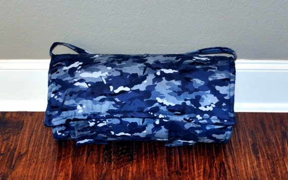 Nap Mat Monogrammed Navy Blue Camouflage Nap By
