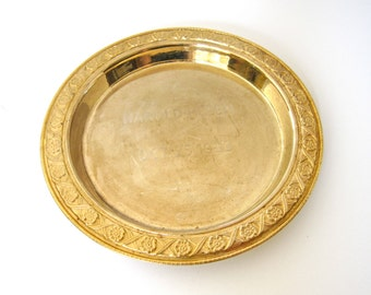 Antique Brass Plate Engraved HAROLD-HELEN OCT. 25, 1922