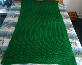 Kelly Green Hand Knitted Chevron Afghan,  Blanket,  Throw  - Home Decor
