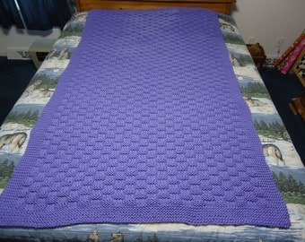 Lavender Blue Hand Knitted Basketweave Afghan, Blanket, Throw - Home Decor - Free Shipping